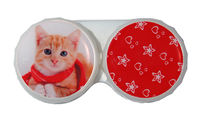 Klasické pouzdro motiv Vánoce - Kočka rezavá s šálou