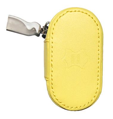 Kožené pouzdro se zrcátkem - Žluté