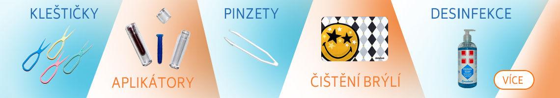kleštičky, aplikátory, pinzety, čištění brýlí, desinfekce
